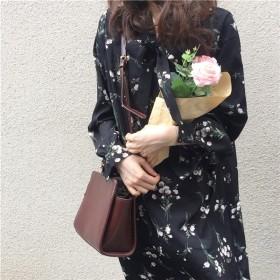 ワンピース レディース きれいめ 着やせ シフオン クラシック 花柄 上品 長袖 春物 新作