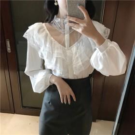 [55555SHOP]2018春秋新品/韓国風シフォンブラウス/リボン結びネック/薄型/長袖/知性/女性味/シングルボタン