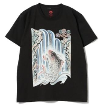 いわき絵のぼり吉田 × BEAMS JAPAN / 別注 いわき絵のぼり Tシャツ 黒 メンズ Tシャツ 鯉ノ滝登(墨) XL