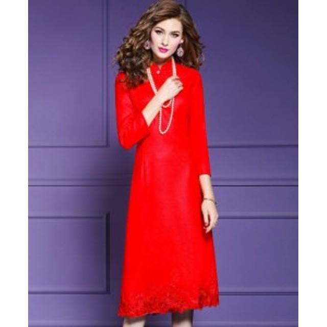 Pd113【20%OFF】ロング ドレス エレガント 花柄 シンプル 長袖   かわいい きれい 可愛い 綺麗 大人 デート デ