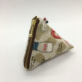 10cmテトラポーチ■牛乳パックみたいな三角ポーチ ベージュ模様