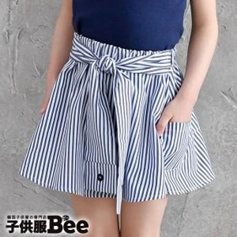 韓国子供服 ◇スカート◇ 韓国 こども服 Bee カジュアル ナチュラル キッズ 女の子 ストライプ リボン 結び 春 夏 100