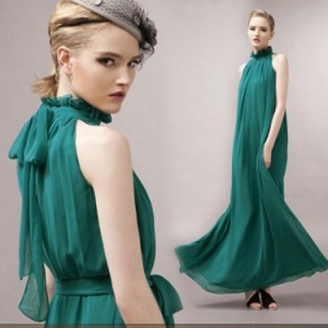 パーティードレス ロングドレス ロング丈 フリーサイズ 大きいサイズ ゆったり バックリボン シンプル シフォン ノースリーブ 袖なし 20