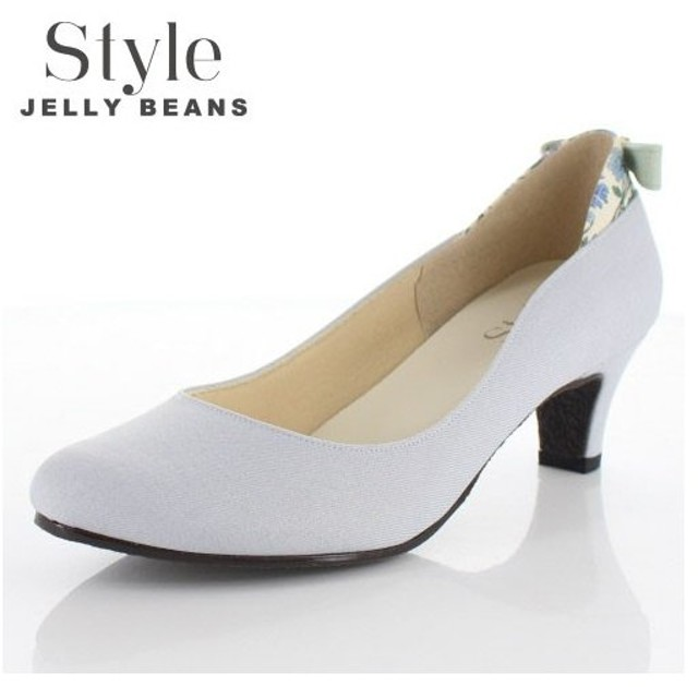 STYLE JELLY BEANS ジェリービーンズ 靴 9011 パンプス ラウンドトゥ 生地 リボン ヒール 花柄 ライトブルー 青 ブルー レディース セール