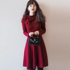 Op481【20%OFF】ワンピース ガーリー Aライン ひざ丈 長袖 ブラック レッド 大きいサイズ パーティー ドレス レデ