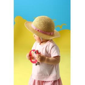 ミキハウスホットビスケッツ 麦わら風☆さわやかハット (48〜54cm) レディース ピンク 52 【MIKI HOUSE HOT BISCUITS】