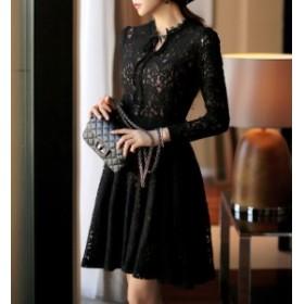 膝丈ワンピース 結婚式 黒 総レース レディース ワンピース 大きいサイズ ドレス かわいい 韓国 プチプラ ⇒ 送料無料