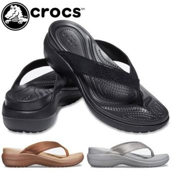 crocs クロックス カプリ メタリックテクスチャー ウェッジ フリップ トングサンダル ウエッジソール 205782