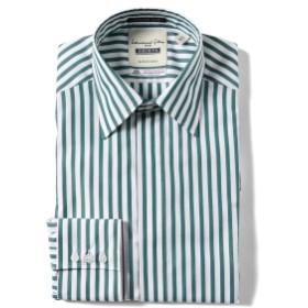 I.G.BEAMS / カスタムスリム グリーンストライプ レギュラーカラーシャツ メンズ ドレスシャツ GREEN STRIPE 39