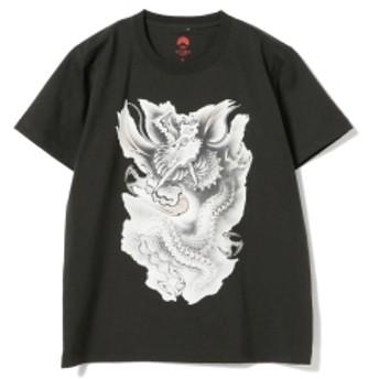 いわき絵のぼり吉田 × BEAMS JAPAN / 別注 いわき絵のぼり Tシャツ 黒 メンズ Tシャツ 昇リ龍(墨) XL