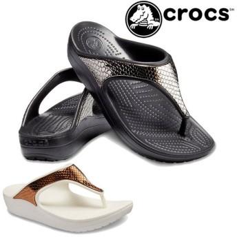 クロックス crocs サンダル レディース 205604 スローン メタリック テクスチャー フラップ ウエッジソール トングサンダル