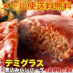 ハンバーグ 食品 レトルト 野菜入りデミグラス煮込みハンバーグ約200g×3袋(メール便送料無料)
