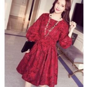 Op141【20%OFF】ワンピース ワンピ ミニ ギャザースカート 長袖 りぼん 赤  大人 きれい かわいい レトロ エレガ