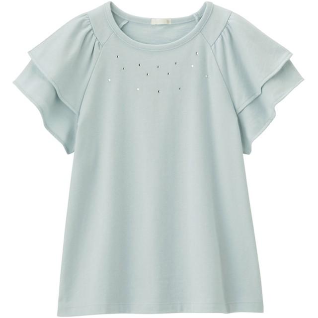 (GU)GIRLSラインストーンフリルT(半袖) LIGHT BLUE 110