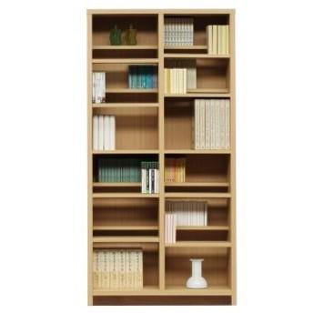 本棚/ブックシェルフ 〔幅90cm〕 高さ180cm 可動棚板16枚付き 木目調 日本製 ナチュラル 〔完成品〕