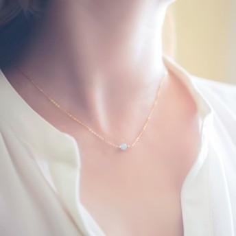 アクアマリン『天然石の小さな1粒ネックレス- dainty 』14KGF シルバー925 ローズゴールドフィルド