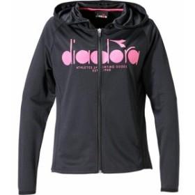 ディアドラ(diadora) レディース テニス ロゴジャケット ブラック DTP9125 99 【テニスウェア 練習着 パーカー スウェット トレーニン