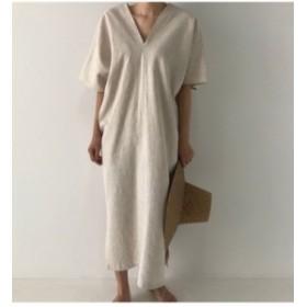 ワンピース レディース マキシ 半袖 ロング 大きいサイズ リネン Vネック リネン混ワンピース 麻 韓国 ファッション プチプラ