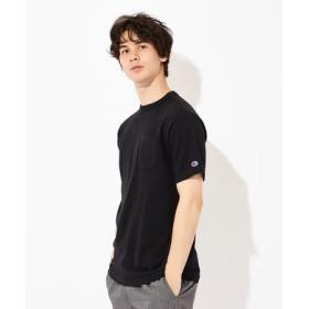 Champion USAコットン無地クルーネックポケットTシャツ ユニセックス ブラック