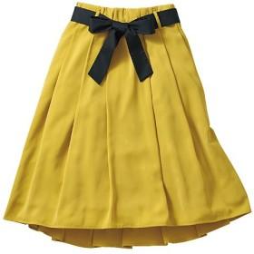 40%OFF【レディース】 配色リボン付きフィッシュテールスカート - セシール ■カラー:マスタード ■サイズ:L,S,M
