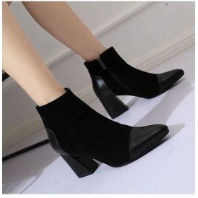 チュクラ チュクラ chuclla 異素材 MIXデザイン ショートブーツ ブーツ ヒール 靴 厚底 レディース ブラック 35(22.5cm) 【chuclla】