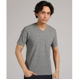 BACK NUMBER ストレッチVネックTシャツ メンズ グレー