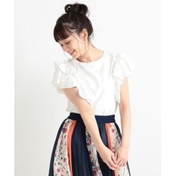 CAROLINA GLASER / フリルTシャツ レディース Tシャツ ホワイト ONE SIZE
