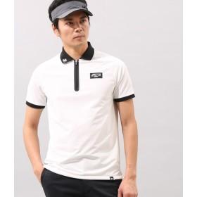 ジュン アンド ロペ メンズ/ラグランスリーブZipUp半袖ポロシャツ/ホワイト/M