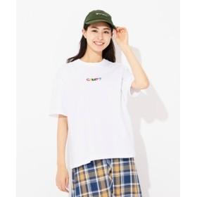 CAMP7 多色ロゴプリントTシャツ レディース オフシロ