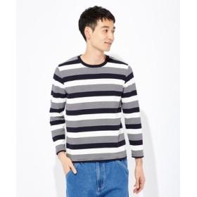 BACK NUMBER ストレッチボーダーロングTシャツ メンズ ネイビー
