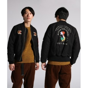 ALPHA MA-1 embroidery Souvenir Jacket 刺繍ジャケット メンズ ブラック