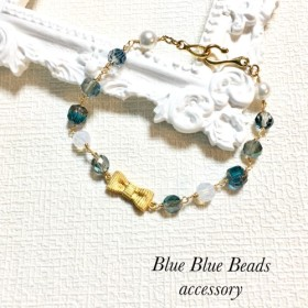 ribbon とブルービーズのブレスレット