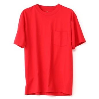 HANES BEEFY-T ポケット付きクルーネック無地半袖Tシャツ メンズ レッド