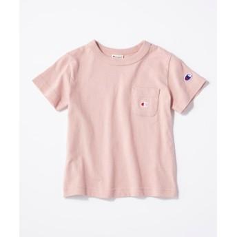 Champion ワンポイントポケット付きクルーネックTシャツ キッズ ライトピンク