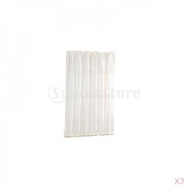 2本の家のフランスのドアのカーテンの遮光カーテンの白137x102cm / 54x40
