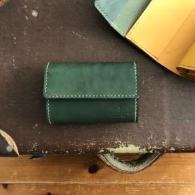 お札を折らずに入れられる♪小さめで便利な3つ折り財布【グリーン×イエロー】