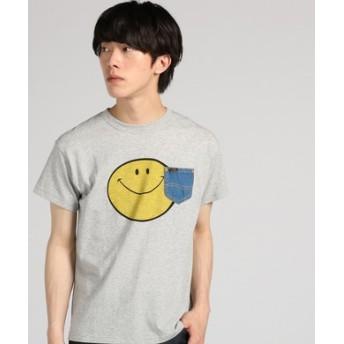 Lee 【WEB限定】スマイリーデニムポケットTシャツ メンズ グレー