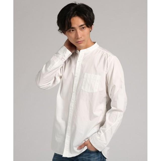 boga boga Loopline 【WEB限定価格】日本製「Tシャツのようにシャツを着る」 立体パターンバンドカラーシャツ メンズ ホワイト
