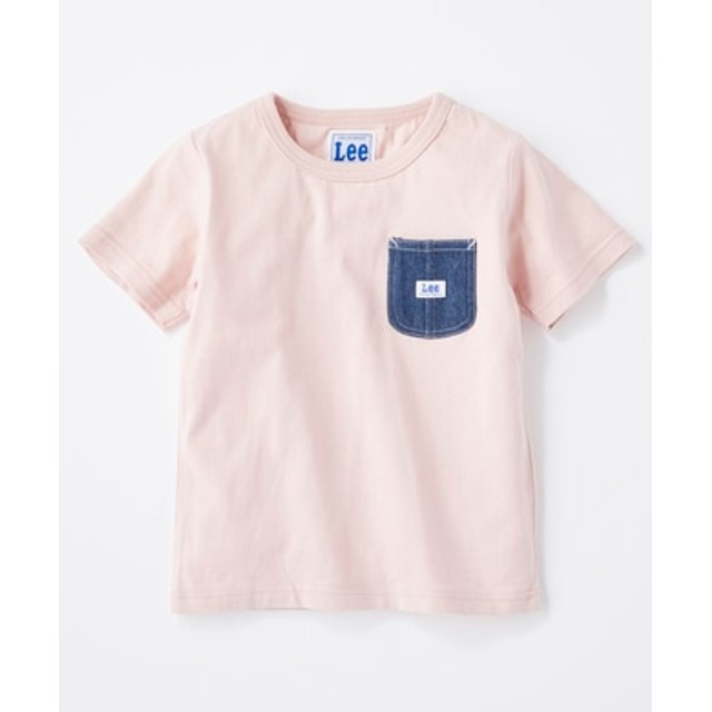Lee ポケット付きTシャツ キッズ ピンク