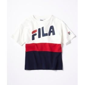FILA 配色切り替えロゴTシャツ キッズ ホワイト