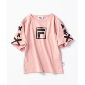 FILA 袖レースアップTシャツ キッズ ライトピンク