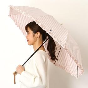 [マルイ] 雨傘【手開き/2段折りたたみ傘/簡単開閉/ストライプ/フリル/日本製/グラス骨】(レディース/婦人)/ポロ ラルフローレン(傘)POLO RALPH LAUREN(umbrella)