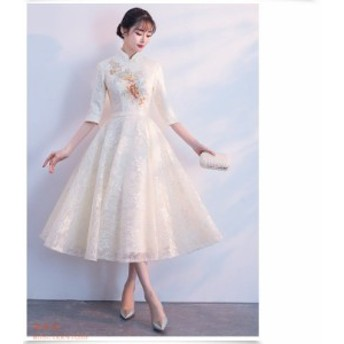 パーティードレス 結婚式 ドレス ミディアム丈ドレス 二次会 フレア パーティドレス お呼ばれドレス 袖あり 成人式 ドレス 卒業式 大きい
