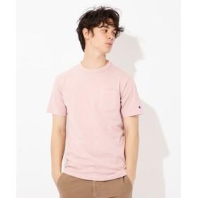 Champion USAコットン無地クルーネックポケットTシャツ ユニセックス ピンク