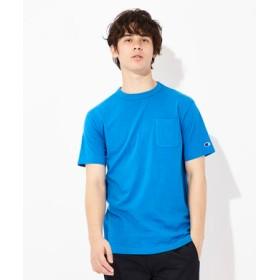 Champion USAコットン無地クルーネックポケットTシャツ ユニセックス ブルー