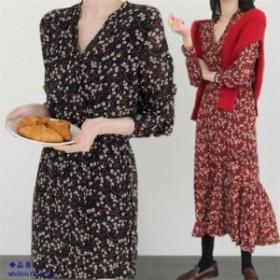 ワンピース レディース 40代 ロング 花柄 シフォン 上品 長袖ワンピース 大人 フレア 姫 ワンピース 通勤 きれいめ 結婚式ドレス 2色 Vネ