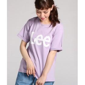 Lee ロゴプリント入りクルーネックTシャツ レディース パープル