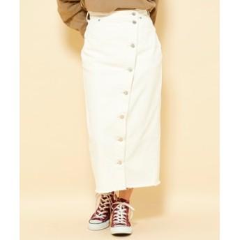 Lee 【自宅で試着、返品送料無料】ボタンフライスカート レディース ホワイト