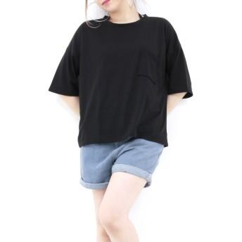Tシャツ - RONDELBLACK 背中見せ デザイン Tシャツ 黒 ブラック ブルー 半袖 無地【肌見せ デザイン tシャツ トップス レディース 女性 黒 ブラック ロンデルブラック カットソー トップス 半そで tシャツ】