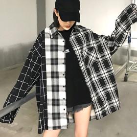 シャツ - Decorative 組み合わせパターンがコーデに変化をつけるモノトーンチェック柄シャツブラウス 原宿系 ファッション レディース ゆめかわいい 服 奇抜派手 個性的 ダンス 衣装 コスチューム ヒップホップ 韓国 大きいサイズ 181116